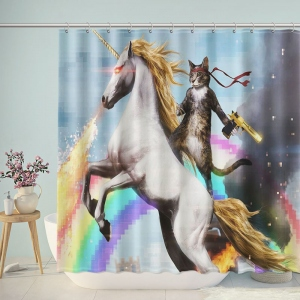 Cat Riding Fire Breathing Unicorn Shower Curtain