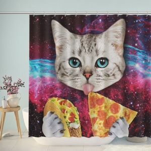 Taco Cat Eat Pizza in Space Shower Curtain
