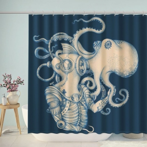 Octopus Blue Kraken Nautical Shower Curtain