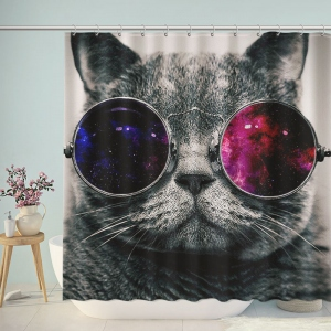 Beautiful Retro Galaxy Cat Shower Curtain