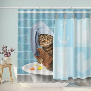 Funny Cat Takes A Shower Shower Curtain