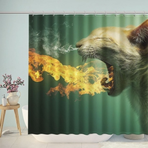 Funny Fire Breathing Cat Shower Curtain