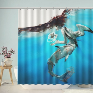Drawing Underwater Fish Shark Wings Shower Curtain