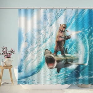 Gun Toting Shark Surfing Shooting Bear Shower Curtain