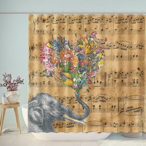 Elephant Sheet Music Notes Shower Curtain