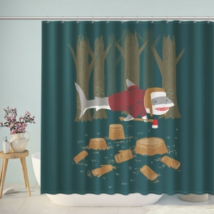 Shark Lumberjack Bathroom Shower Curtain