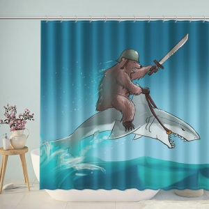 Funny Bear Riding on Shark Shower Curtain