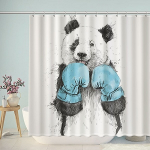 Boxing Panda Bathroom Shower Curtain