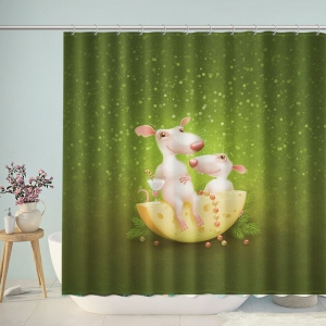 Cute Mouse Cheese Shower Curtain