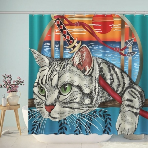 Ninja Cat Bathroom Shower Curtain