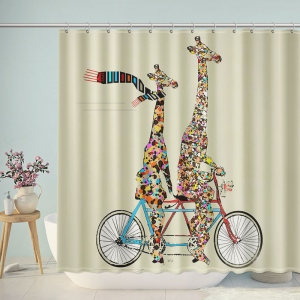 Giraffe Lover Riding Tandem Bicycle Shower Curtain