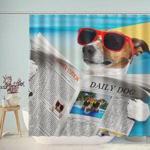 Dog Reading Newspaper Shower Curtain