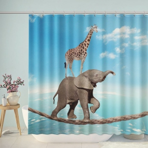 Tightrope Walking Elephant and Giraffe Shower Curtain