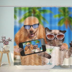 Fashion Dog and Cat Take Photo Shower Curtain