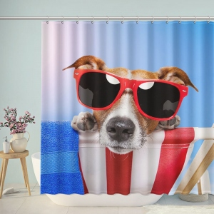 Fashion Dog on Vacation Shower Curtain