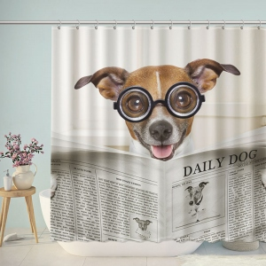Glasses Dog Read Newspaper Shower Curtain