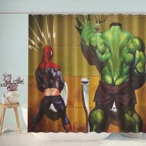 Spiderman and Hulk Pee Shower Curtain