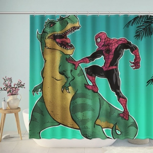Spiderman VS Dinosaur Shower Curtain