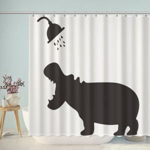 Funny Hippo Take Shower Bathroom Shower Curtain