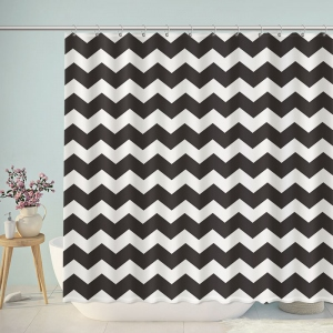 Black And White Chevron Bathroom Shower Curtain