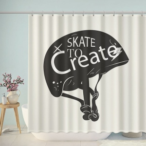 Skate To Create Helmet Shower Curtain