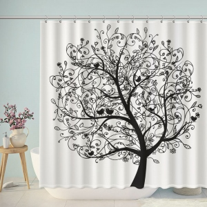 Artistic Trees And Birds Shower Curtain