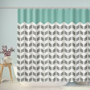 Simple Grey Green Chevron Shower Curtain