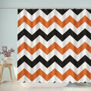 Orange And Black Chevron Bathroom Shower Curtain