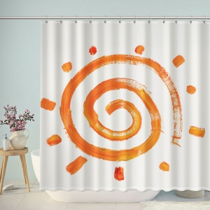 Orange Sun Drawing On The Wall Shower Curtain