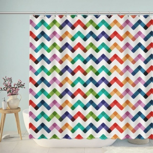 Colorful Chevron Bathroom Shower Curtain