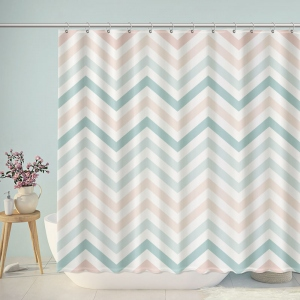 Blue And Pink Gradient Chevron Shower Curtain