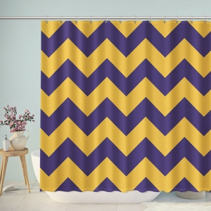 Purple And Yellow Chevron Shower Curtain
