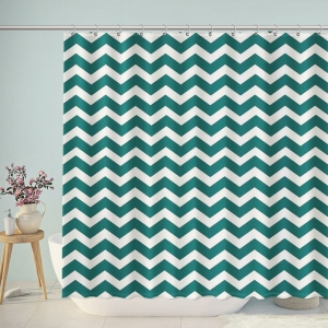 Green And White Chevron Shower Curtain