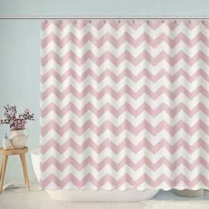 Pink And White Chevron Shower Curtain