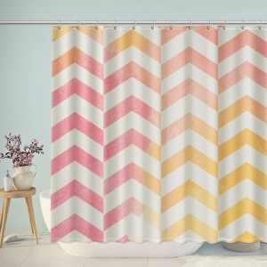 Vintage Doodle Pink Yellow Chevron Shower Curtain