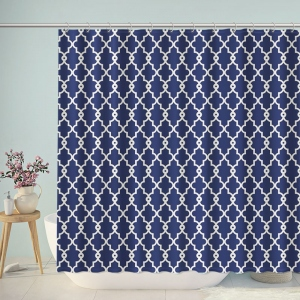 Vintage Blue Europe Pattern Bathroom Shower Curtain
