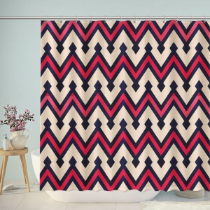 Vintage Red Black Chevron Shower Curtain