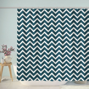 Navy Chevron Print Shower Curtain