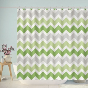 Green Gradient Grey Chevron Summer Shower Curtain