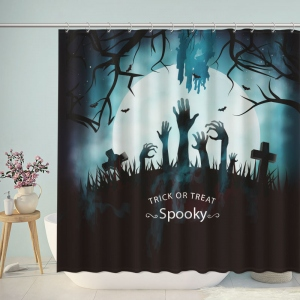 Halloween Dead Forest with Spooky Tree Graves Shower Curtain
