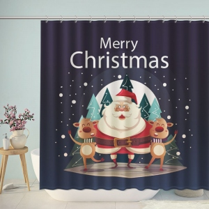 Merry Christmas Santa Claus Deer Shower Curtain