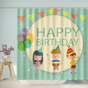 Cute Happy Birthday Kids Shower Curtain