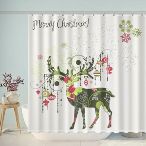 Floral Christmas Deer Shower Curtain