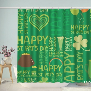 Green Happy St Patrick Day Shower Curtain