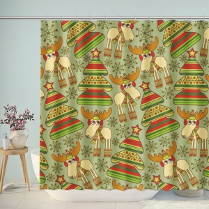 Christmas Trees And Deer Shower Curtain