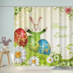 Happy Easter Eggs Rabbit Shower Curtain