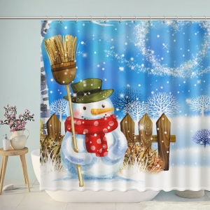 Snowman Winter Landscape Shower Curtain