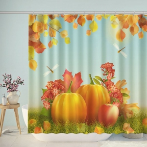 Pumpkin and Leaves Shower Curtain