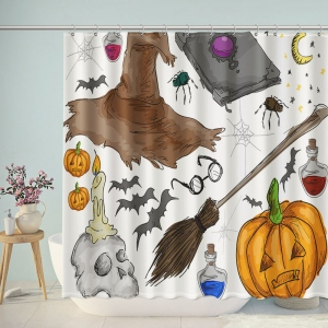 Halloween Elements Decorations Shower Curtain
