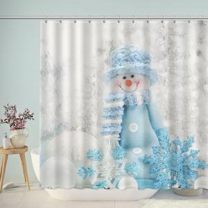 Cute Snowman Bathroom Shower Curtain